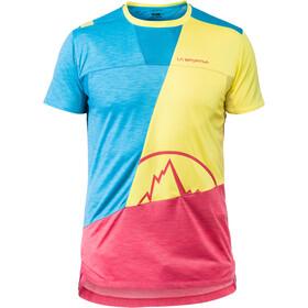 La Sportiva Workout T-shirt Herr tropic blue/lemonade